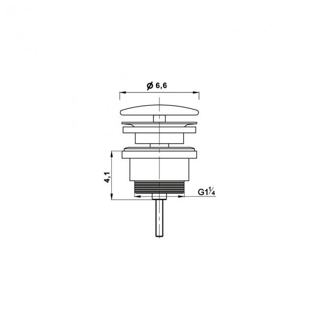 Донный клапан с керамической крышкой Vincea DBS-216MB, черная мат. крышка, без перелива