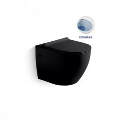 Унитаз подвесной Globo VT1-14MB безободковый, цвет матовый черный, ультратонкое сиденье soft-close